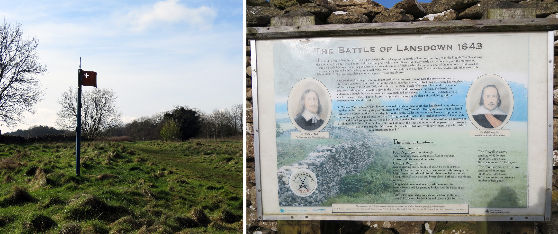 The Battle of Lansdown - battle marker and information display