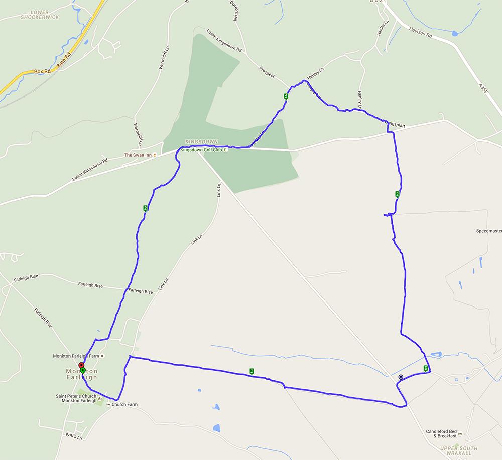 5.84 mile walk starting and ending at Monkton Farleigh